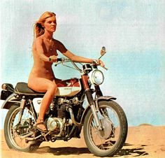 Gilda Texter riding her Honda 350 Scrambler in the 1971 movie 'Vanishing Point' (with Mississippi Queen as the soundtrack).  Best scene in the movie by far.....