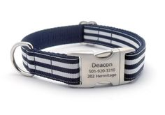 How cute!! Check it out here! #Itsadogthing http://www.barklabel.com/products/cabana-stripe-dog-collar-with-laser-engraved-personalized-buckle-navy?utm_campaign=social_autopilot&utm_source=pin&utm_medium=pin www.barklabel.com
