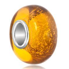 Murano Glass Jewelry - topaz foil sunset glow fit all brands murano glass beads charms bracelets Image.
