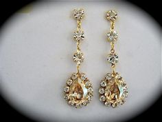 Bridal Champagne Dangle Earrings  Swarovski Crystal   Champagne earrings, bridal earrings, bridesmaid earrings, swarovski earrings, http://www.the-crystal-rose.com
