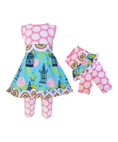 Pink A-Line Dress Set & Doll Outfit - Infant Toddler & Girls