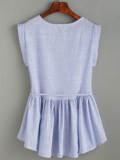 Blue Vertical Striped Self Tie Ruffle Hem Blouse -SheIn(Sheinside)
