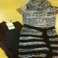 Cowl neck sweater tunic Short sleeves, black tie belt, marled. black and white throughout, with black stripes near the bottom.  So cute! takara  Tops Tunics