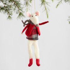 Large Felt Mouse Ornaments Set of 2 | World Market
