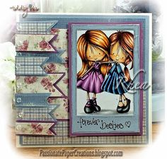 Passionate Paper Creations: Wryn and Emmy - BFF - Tiddly Inks - RHEA - using Vintage Spring and Coffee in the Arbor