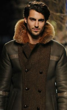 Miguel Marinero…fur collared, tweed and sheepskin men's coat
