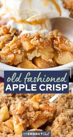 Old Fashioned Easy Apple Crisp | Chopped apples, cinnamon, brown sugar, and the best crispy oat topping, baked into the ultimate Fall dessert! Top with a scoop of ice cream and salted caramel for the perfect treat! #applecrisp #oats #dessert #apples #fromscratch #easyrecipe Apple Dessert Recipes, Apple Crisp Recipes, Delicious Desserts, Yummy Food, Desserts With Apples, Homemade Apple Crisp, Fall Desserts, Healthy Desserts, Thanksgiving Recipes