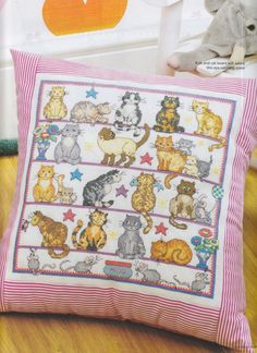 cats (I would love to find the chart for this one. I simply love it. Cross Stitch Pillow, Cute Cross Stitch, Cross Stitch Alphabet, Cross Stitch Animals, Cat Cross Stitches, Cross Stitching, Cross Stitch Embroidery, Modern Cross Stitch Patterns, Cross Stitch Designs