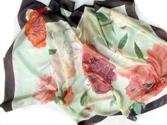 Hand painted silk scarf. Pastel pink Peonies on light by klaradar, €98.00
