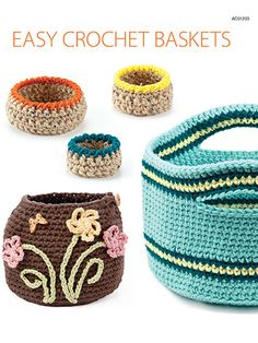 """This pattern pack includes 5 great basket designs. Each design is stitched holding 2 strands of worsted-weight yarn together. They work up fast and are ideal for holding a variety of useful items. Sizes range from 3 1/2"""" to 19 1/2"""" in circumference."""