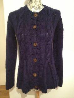 Ladies Navy Blue Hand Knitted Chunky Cardigan Jacket Size 8 10 | eBay