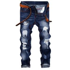 LASPERAL Europe Retro Colors 2017 Hot Sale New Jeans Homme Funky Hole Patches Distress Jeans Straight Leg Rock Jeans #Affiliate