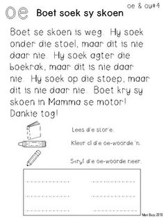 Alphabet Writing Worksheets, Kindergarten Math Worksheets, Preschool Learning, Animal Worksheets, Maths, Afrikaans Language, Teachers Aide, Afrikaans Quotes, Teaching Resources