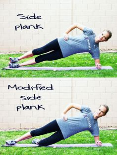 Exercise Library from InspiredRD.com - a modified side plank with a small weight really works the obliques