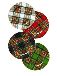 """Noble Excellence """"Holiday Plaid"""" accent plates Christmas Dinnerware, Christmas Dishes, Christmas Tablescapes, Christmas Decorations, Tartan Christmas, Elegant Christmas, Christmas Love, Tartan Plaid, Home"""