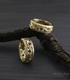 His and her vine wedding bands in yellow gold, Vine wedding rings set, Filigree wedding bands, Unique nature rings, Anniversary rings Baguette Diamond Band, Diamond Bands, Diamond Wedding Bands, Vine Wedding Ring, Wedding Men, Toe Ring Designs, White Gold Sapphire Ring, Bridal Rings, Anniversary Rings