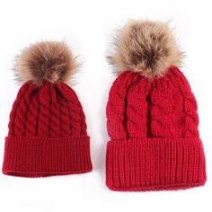 Mom And Baby Knitting Cap Keep Warm Hat Matching Outfits - Red -  CS12MXXS020 - Hats d30194baed8d