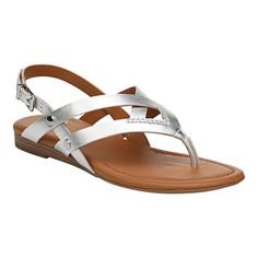 Exude elegance even in the soaring heat with the Sarto by Franco Sarto Gretchen Slingback. This sandal features crisscross straps and metallic stud accents. Crisscross straps Metallic stud accents Adjustable sling strap with buckle Rolled toe thong post. Mens Fashion Shoes, Fashion Sandals, Cute Shoes Flats, Leather Slippers For Men, Baby Shoes Pattern, Black Wedge Shoes, Slippers For Girls, Beautiful Sandals, Leather Sandals Flat
