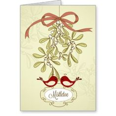Cute red birds kissing under the mistletoe holiday greeting card and postcard.