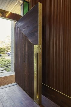 A Concrete Home Inspired by Brutalist Structures Rises in Australia - Dwell Modern Entrance Door, Main Entrance Door Design, Modern Front Door, Front Door Design, Entry Doors, Entryway, House Main Door, House Doors, House Windows