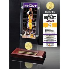NBA Los Angeles Lakers Kobe Bryant Ticket & Bronze Coin Desktop Acrylic, Brown by The Highland Mint. NBA Los Angeles Lakers Kobe Bryant Ticket & Bronze Coin Desktop Acrylic, Brown.