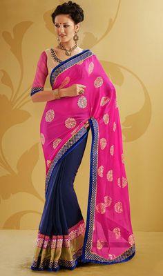 Blue and Pink Crepe Silk Jacquard Half N Half Saree Price: Usa Dollar $98, British UK Pound £58, Euro73, Canada CA$106 , Indian Rs5292.