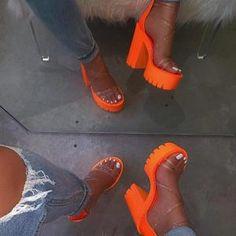 2020 New Women Transparent Zip Sandals Summer Ladies Platform Cross Strap Square High Heels Female Sexy Fashion Shoes Footwear Cute Shoes, Me Too Shoes, Women's Shoes, Funky Shoes, Pumas Shoes, Super High Heels, Womens High Heels, Nike High Heels, Chunky Heels
