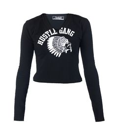 HUSTLE GANG Cropped tee Crew neck Long sleeves HUSTLE GANG chief logo on front Stretch fabric for comfort