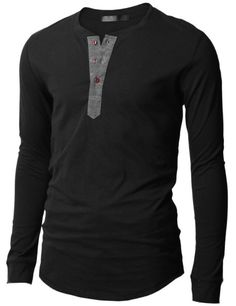 Mens Henley T-shirts with Long Sleeve