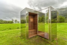 "Architects Angus Richie and Daniel Tyler collaborated to design ""The Lookout,"" a mirrored timber cabin in the mountains of Scotland."