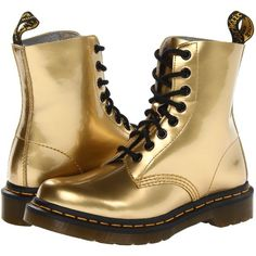 Dr. Martens Pascal 8-Eye Boot W Women's Lace-up Boots, Gold ($71) ❤ liked on Polyvore featuring shoes, boots, gold, laced shoes, dr martens footwear, gold shoes, lacing boots and lace front boots