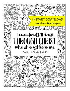 Coloring Page I Can Do All Things Through Christ Printable Bible Verse