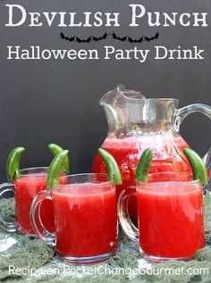 Halloween Party Drink : Devilish Punch :: Recipe on PocketChangeGourmet.com #Halloween #Recipes