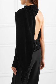 GARETH PUGH Open-back one-shoulder #velvet #top €730