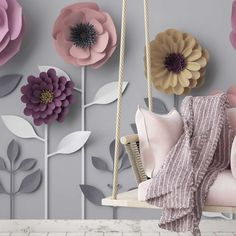Your kid can live amongst a field of flowers with this children's bedroom floral wall mural. Cute Scandinavian style origami flowers grow up. Paper Flower Wall, Paper Flowers, Paper Peonies, Kids Wallpaper, Origami Flowers, Floral Wall, Elle Decor, Designer Wallpaper, Scandinavian Style
