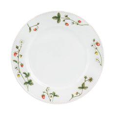 Jordbæreng: Asjett 21cm - Hyttefeber.no China Patterns, 21st, Plates, Tableware, House Ideas, Products, Dish Sets, Mesas, Porcelain
