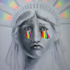 Sad liberty An acrylics on canvas painting about freedom vs the crisis of democracy we are facing today, about Donald Trump and Mike Pence, about how democracy and human rights are under threat, even in the USA