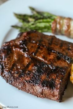 The only steak marinade recipe we ever use! It requires only three ingredients - Italian dressing, and Worcestershire sauce - and makes our steak taste SO amazing! Everyone always asks for this Easy Steak Marinade recipe because it's just that good! Steak Marinade Recipes, Grilled Steak Recipes, Pork Chop Recipes, Grilling Recipes, Meat Recipes, Cooking Recipes, Grilled Meat, Game Recipes, Grilled Steaks