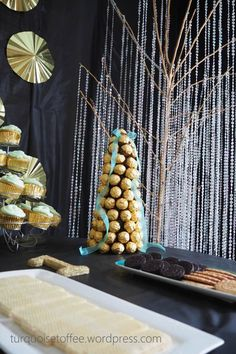 Ferrero Rocher Tower Tutorial…What could be more elegant for a holiday dessert table than a tower of golden Ferrero Rocher chocolates? Great Gatsby Decorations, Great Gatsby Cake, Party Desserts, Holiday Desserts, Party Cakes, First Birthday Parties, First Birthdays, 40th Birthday, Birthday Ideas