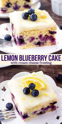 Easy Blueberry Desserts, Blueberry Cake, Blueberry Recipes, Lemon Desserts, Just Desserts, Delicious Desserts, Summer Dessert Recipes, Spring Desserts, Recipes Dinner