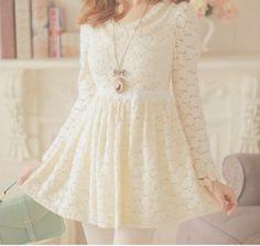 dress cute beautiful necklace lace bows cream lace dress sweet dress cute dress ulzzang pastel dress korean fashion korean style kawaii dress jewels kawaii white lace dress