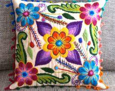 Cubiertas de la almohadilla bordadas flores de ovejas y alpaca lana 16 x 16 Perú fundas