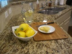 Cut lemon on the counter is a nice touch for staging your home, although I would forgo the knife.  To read more information about de-cluttering your home visit http://www.agentwithresults.com/blog/category/home-sellers/#.