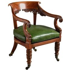 A George IV Goncalo Alves armchair attributed to Gillows, circa Carved with lotus leaves and scrolls with curved scroll-over top rail, the original seat squab re-upholstered in green Morocco leather, the legs with original ribbed socket castors. Wooden Furniture, Dining Room Furniture, Antique Furniture, Home Furniture, Furniture Design, Interior Exterior, Interior Design, Antique Chairs, Modern Chairs
