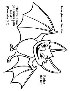 Cave Quest Day 3 preschool coloring page Radar the Bat.