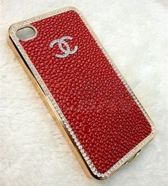 Red Chanel Diamond Case for iPhone
