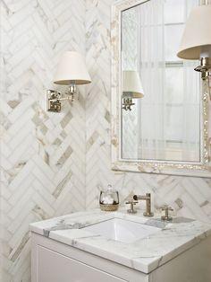 Bath Design | Herringbone Pattern | Mosaic Tile | Marble Flooring