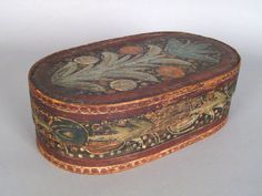 """Continental painted bride's box, 19th c., with floral decoration, 5 1/4"""" h., 16 1/4"""" w. pook & pook                     Spaanaeske"""