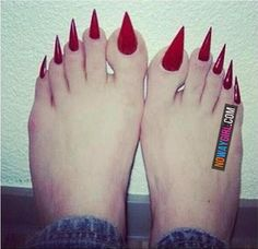 Ladies Y'all Taking These Toenails Too Far - NoWayGirl- daaaaang, these are Killer! Ever accidentally scratched yourself? With these you'd bleed to death.