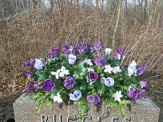 Headstone Memorial Tombstone Cemetery Silk Flower Saddle Purple and Lavender